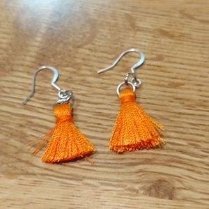 Dark orange mini tassel earrings